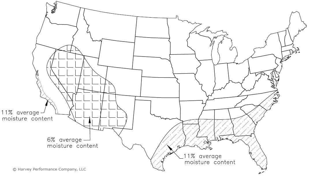 United States map showing average regional indoor EMC